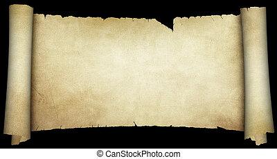 scroll., achtergrond., black , vrijstaand, perkament