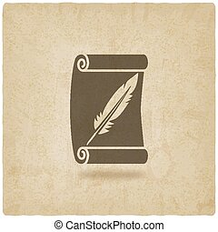 scroll and feather writing symbol old background