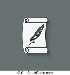 scroll and feather writing symbol