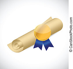 scroll and gold ribbon illustration design