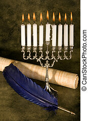 Scroll and quill - Jewish hanukkah candle-holder, scroll and...