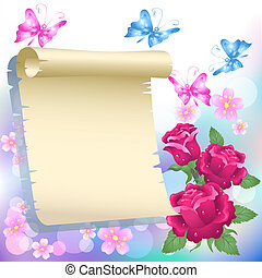 Scroll and roses