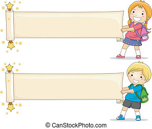 Scroll Banner - Illustration of Kids Unfolding a Blank Paper...