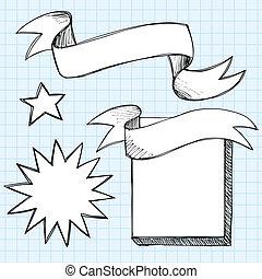 Hand-Drawn Scroll Banner Sketchy Notebook Doodles Frames with Star and Starburst- Vector Illustration on Lined Sketchbook Paper Background