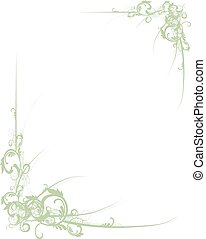 Scroll Border Green - Fancy green scroll floral corners for...