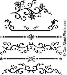 scroll, cartouche, decoração, vetorial, ilustração