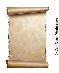 scroll, de, antigas, papel, com, ondulado, bordas, isolado