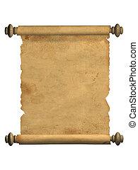scroll, de, antigas, pergaminho