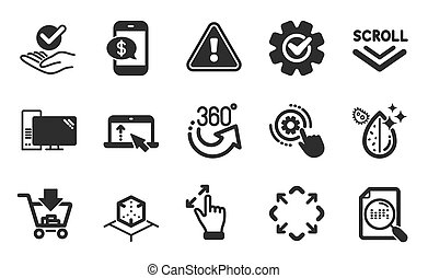 Scroll down, Maximize and Touchscreen gesture icons set. ...