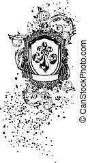 scroll emblem shield