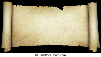 scroll., experiência., pretas, isolado, pergaminho