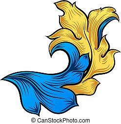 Scroll Filigree Floral Pattern Heraldry Design