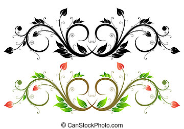 Scroll - Floral design element with flowers and leaves
