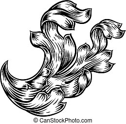 Scroll Floral Filigree Heraldry Design