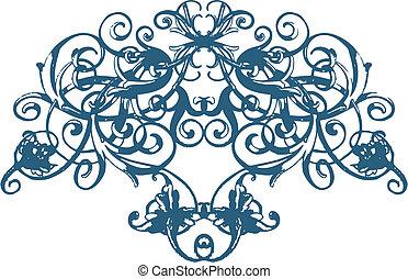 scroll, floral, ornamento