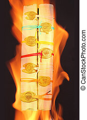 scroll in a flame - A papyrus role with seven seals in a...