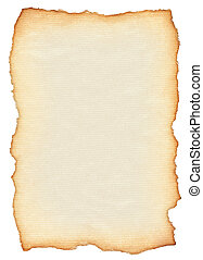 scroll isolated on pure white background, edges are very rough and frayed