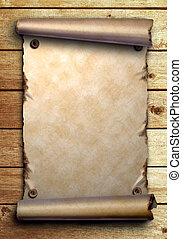Scroll of old paper on wooden boards - Scroll of old paper...