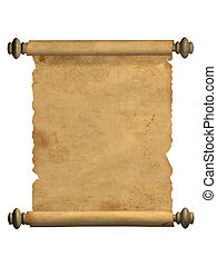 Scroll of old parchment. Object over white