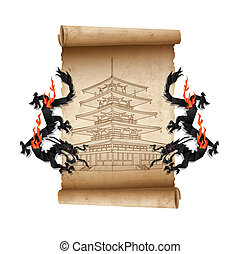 Scroll of old parchment with Pagoda and Dragons. Vector...