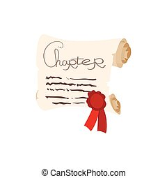 Scroll of paper with a wax seal cartoon icon on a white...
