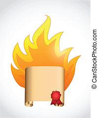scroll on fire. illustration design