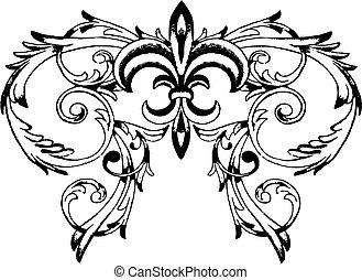 scroll, ornate, e, real, símbolo