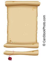 scroll, papel, antigas, esguichos, tinta