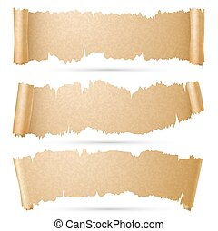 Scroll paper banners vector set