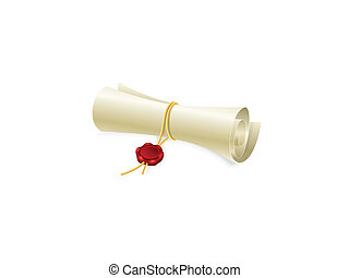Scroll paper with sealing wax - Scroll paper with seal of...