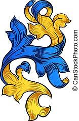 Scroll Pattern Filigree Floral Heraldry Design