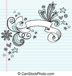 Scroll Ribbon Doodle Vector Design