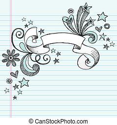 Scroll Ribbon Doodle Vector Design