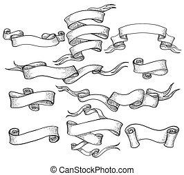 Scroll sketch vintage swirl ribbons set