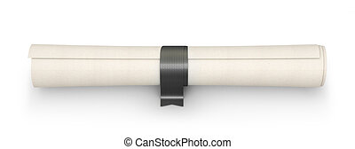 scroll with a colored black ribbon, like a diploma, isolated on white. 3d illustration