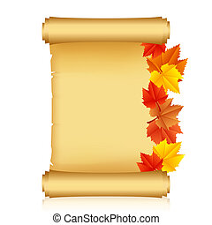 scroll with autumn leaves