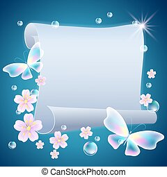 Scroll with flowers and butterflies