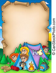 Scroll with group of camping kids - color illustration.