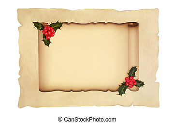Scroll with Holly Berry on Parchment