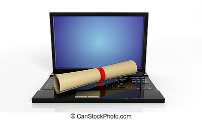 Scroll with red ribbon and laptop,isolated on white background.