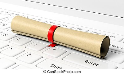 Scroll with red ribbon on laptop keyboard.