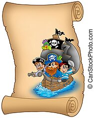 Scroll with saiboat and pirates