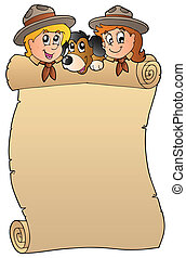 Scroll with two scouts and dog - vector illustration.