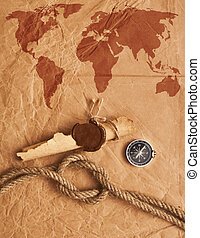 scroll with wax seal and rope