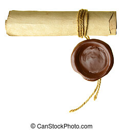Scroll with wax seal isolated over a white background