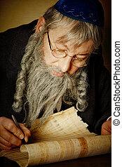Scroll writing - Old jewish man with beard writing on a...