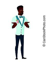 scrollare, sposo, spalle., africano, confuso