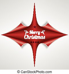Scrolled Red Paper Cover 4 Corner Merry Christmas
