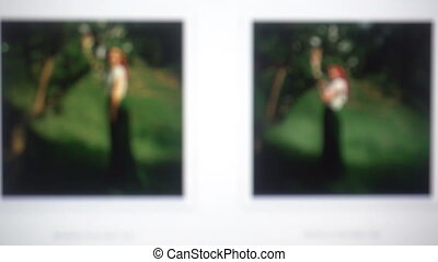 scrolling down the page with woman in park photosession on screen. blurred background with photos