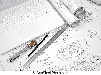 Scrolls engineering drawings and laptop. Desk Engineer